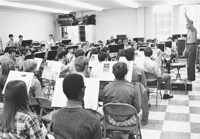 Jack White, right, conducts music students at ULM in this undated photo. White, Director of Bands Emeritus, died Aug. 19. He was director of bands at ULM for 21 years.