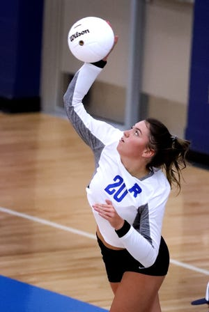 Rockvale's Adison Winterbauer (20) serves the ball during a game against MTCS on Tuesday, Aug. 18, 2020 at Rockvale.