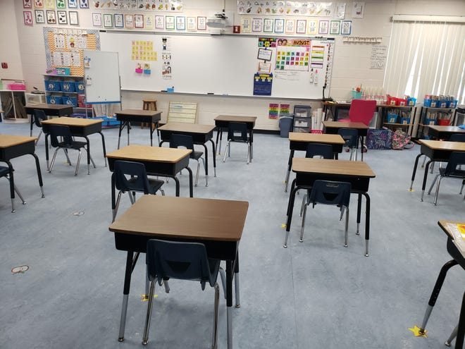 Desks as they were spaced out in a Granville Elementary School second grade classroom, in preparation for the 2020 reopening during the COVID-19 pandemic earlier this year.