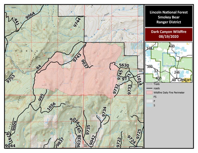 Map of Dark Canyon Fire August 19, 2020.