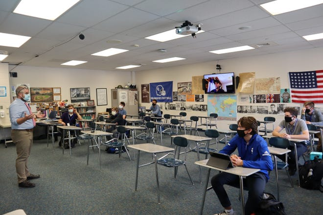 Nick Aiello teaches an AP US History Class to Detroit Catholic Central students both in-person and virtually on Tuesday, Aug. 18, 2020.