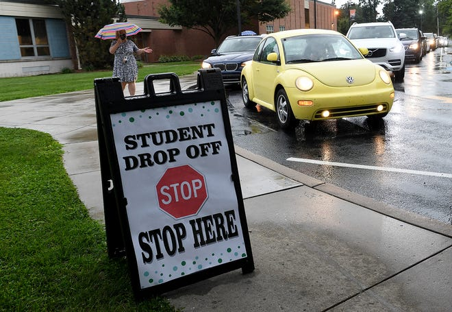 Students return to school for the first time in six months at York Suburban Middle School, Wednesday, August 19, 2020. Sixth and ninth grade students started a day earlier than the rest of the district due to moving up to bigger schools.John A. Pavoncello photo