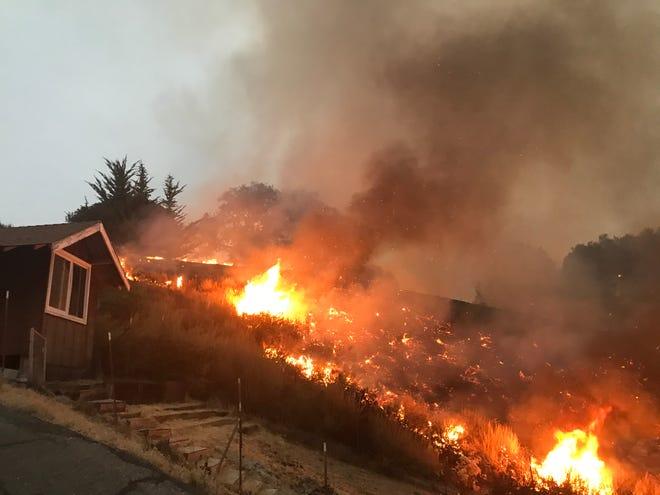 A 500-acre fire burns near Carmel Valley on Tuesday, August 18, 2020.