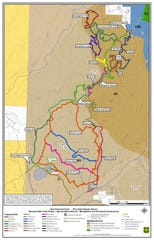 A preliminary map of the Spring Hollow trail system, which includes about 45 miles of trails.