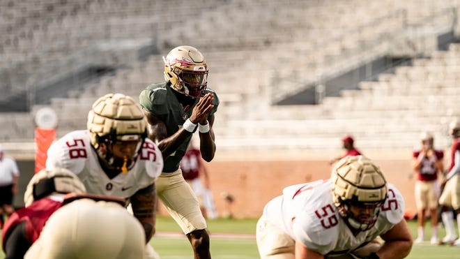 Quarterback James Blackman prepares to take a snap during FSU's scrimmage on Aug. 15, 2020.