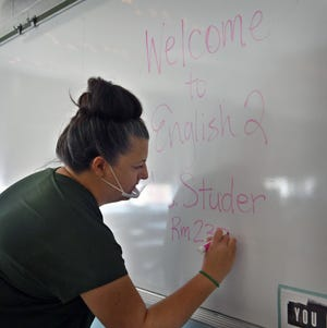 First-year teacher Jessica Studer experienced her first day of classes at Rider High School, beginning her teaching career later in life and in the midst of a pandemic as shown in this Aug. 19, 2020, file photo.