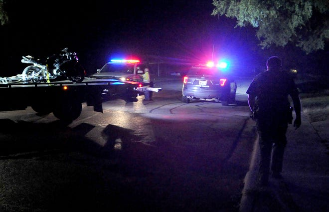 Texas Department of Public Safety Troopers and Wichita County Deputies work the scene of a pursuit Monday night.