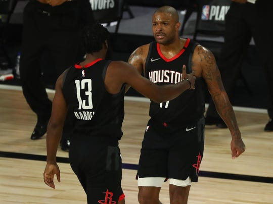 James Harden (13), P.J. Tucker (17) and the Rockets hit 20 3-pointers on their way to a Game 1 win.