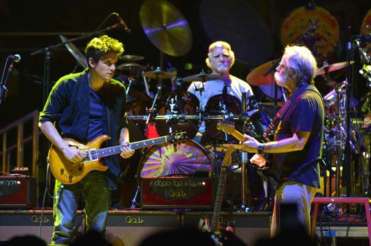John Mayer, at left, Bill Kreutzman and Bob Weir of Dead & Company In Concert at Madison Square Garden on October 31, 2015 in New York City.