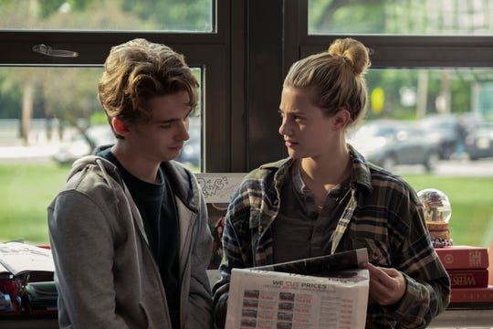 "An attraction grows between classmates Henry (Austin Abrams) and Grace (Lili Reinhart) in ""Chemical Hearts."""