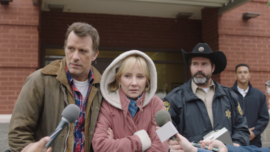 "Thomas Jane (left) and Anne Heche play a couple desperate to find their missing daughter, with Jason Patric as the investigating sheriff, in ""The Vanished."""