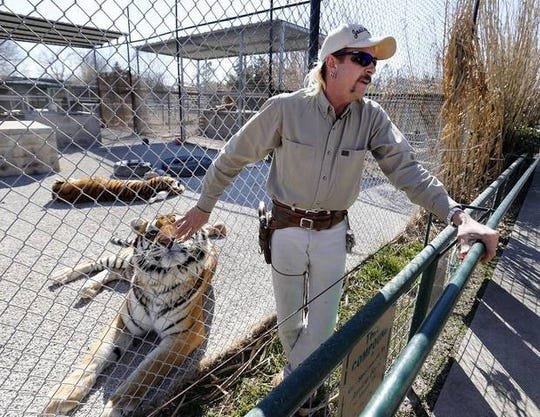 Joe Schreibvogel, aka Joseph Allen Maldonado-Passage, aka Joe Exotic, at GW Exotic Animal Park in Wynnewood, Okla., on Feb. 28, 2013.