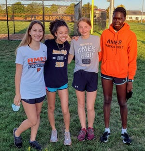 Ames girls' cross country runners (left to right) Sydney Turk, Serena Cross, Payton Stewart and Nyadio Chan all ran at the Class 4A state qualifying in Cedar Falls last year. They are hoping to compete at the state meet in 2020.