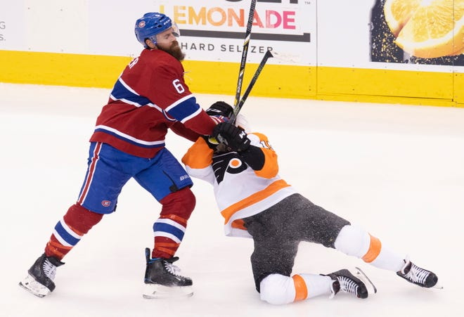 Canadiens defenseman Shea Weber takes down Flyers defenseman Matt Niskanen during Game 4.