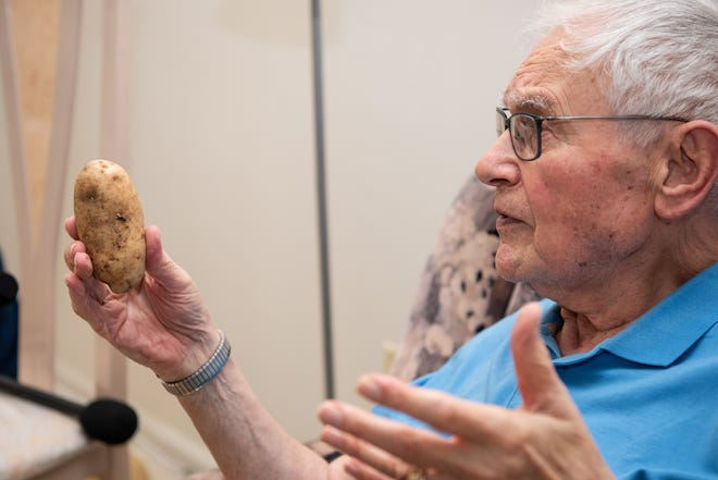 For many years, Ernie Gross, of Philadelphia, did not speak about his time in concentration camps during the Holocaust. Now, he frequently shares his stories with school groups, bringing props like a potato.