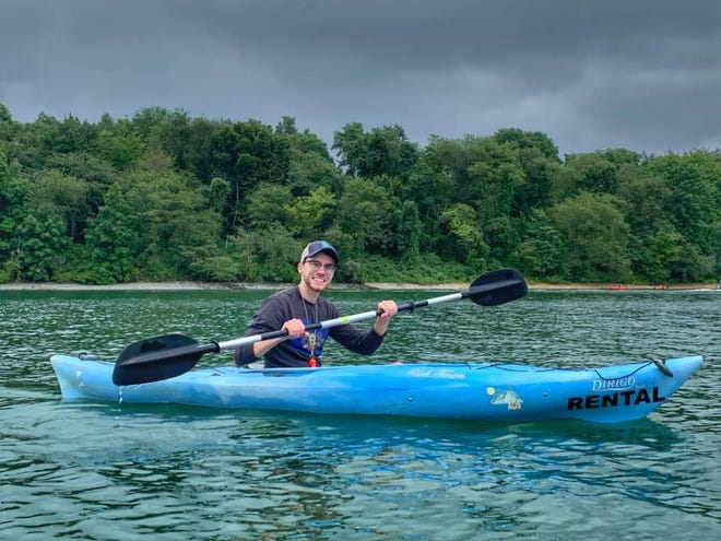 Trevor Nordquist of Butler kayaks on Lake Marburg at Codorus State Park. Nordquist finished his quest Aug. 16 of visiting and exploring every state park in Pennsylvania.