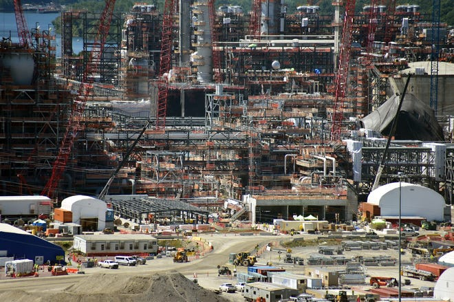 The Shell Chemicals ethane cracker plant shown under construction Aug. 20, 2020, in Potter Township.