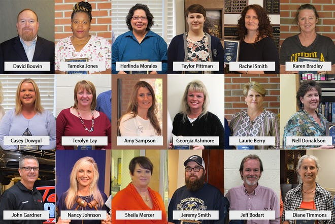 Employees were awarded certificates in five-year increments. Pictured from left, are: (top row) David Bouvin, Tameka Jones, Herlinda Morales, Taylor Pittman, Rachel Smith, Karen Bradley, (second row) Casey Dowgul, Terolyn Lay, Amy Sampson, Georgia Ashmore, Laurie Berry, Nell Donaldson, (bottom row) John Gardner, Nancy Johnson, Sheila Mercer, Jeremy Smith, Jeff Bodart and Diane Timmons.