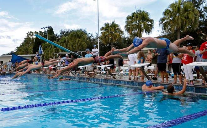 The start of the Boys 50 Yard Freestyle event during the 28th Annual City of Lakeland Championships swim meet in 2016.