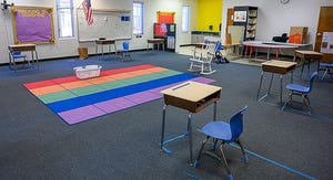 Desks in a classroom in Ketterlinus Elementary School in St. Augustine are separated 6 feet apart for social distancing during a summer camp held at the school in June. [PETER WILLOTT/THE RECORD]