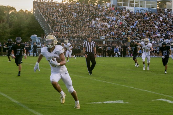 Nease receiver Grant Stevens waltzes toward the end zone during the second quarter of the Battle of the Bridge on Aug. 23, 2019. Ponte Vedra won 21-14 to extend its winning streak to 10 games over the Panthers.