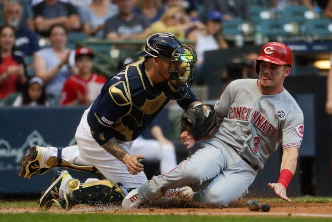 Former Sarasota High standout and Cincinnati Reds' Scooter Gennett gets tagged out by Milwaukee Brewers catcher Yasmani Grandal.