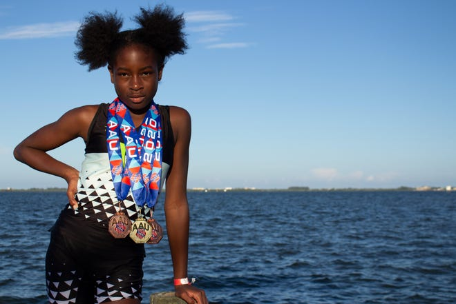 Fayetteville native Anyeh Bronson, a 13-year-old track and field athlete, recently won an AAU Junior national title in Florida.