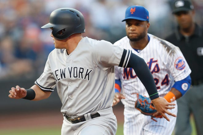 Robinson Cano and Gio Urshela will have to wait to start up the Mets-Yankees rivalry as the Subway Series game between the two teams Friday was cancelled due to a positive COVID case with Mets. KATHY WILLENS/AP