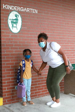 Students and staff were ready to start the school year with new social distancing and mask precautions to help reduce the spread of COVID-19 on Aug. 20, 2020 on at Parker Elementary.
