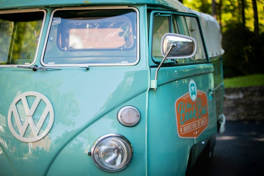 Melanie Moore, a retired teacher, operates a mobile book bus from her husband's restored 1962 Volkswagen Transporter. Moore mainly sells adult fiction but also carries classics and books that aren't sold locally like, Persephone Books, of London.
