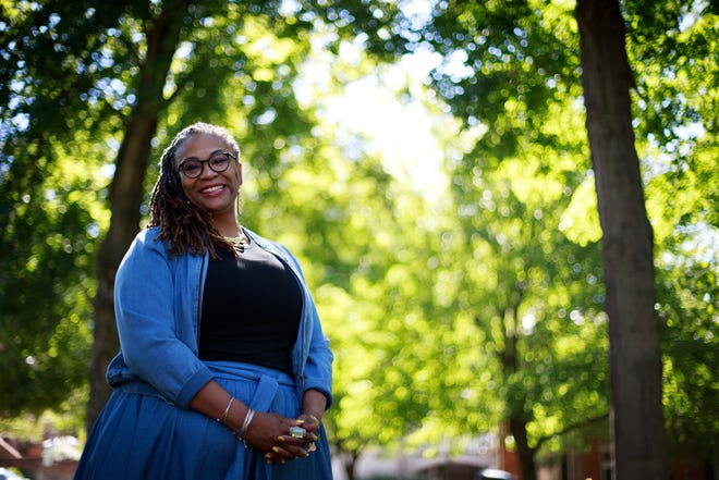 Tracy Stokes, Diversity and Inclusion Director at Gateway Community College, poses for a portrait at George Rogers Clark Park in Covington, Ky., on Thursday, Aug. 20, 2020.