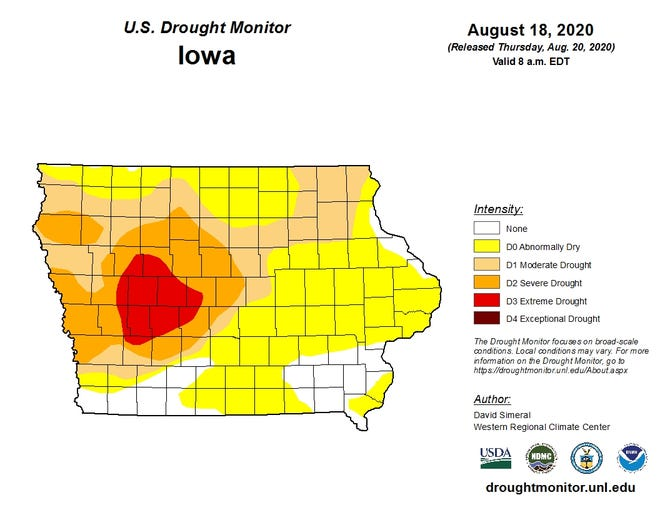 Parts of seven more Iowa counties are in severe droughts, the USDA said Thurs. Aug. 20.
