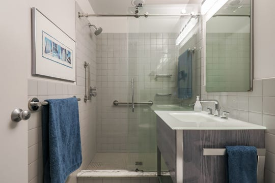 The owner's bath of the Mies van de Rohe garden home at 1331 Joliet Place in Detroit. It's a rare Mies van de Rohe garden unit in Lafayette Park in very good condition with many respectful upgrades.