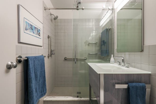 The owner's bath of the Mies van der Rohe garden home at 1331 Joliet Place in Detroit. It's a rare Mies van de Rohe garden unit in Lafayette Park in very good condition with many respectful upgrades.