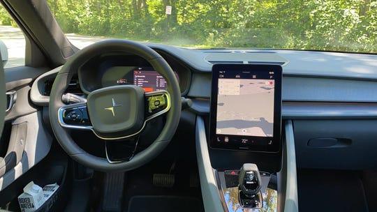The 2021 Polestar 2 electric car dashboard