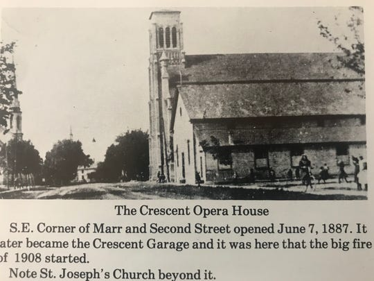 """The Crescent Opera House once stood on the corner of Marr Street and Second Street as a key entertainment venue in Fond du Lac until the early 20th century.  From the book """"A Photographer's History of Fond du Lac County"""" by Ray Thornton."""