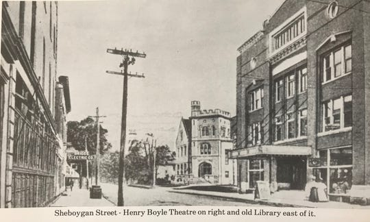 """The Henry Boyle Theatre, pictured on the right, opened in 1906 on Sheboygan Street. From the book """"A Photographer's History of Fond du Lac County"""" by Ray Thornton."""