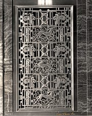 Art Deco details are shown inside the Market Street entrance of the Circle Tower building.