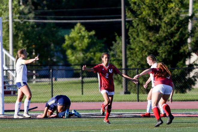 Lafayette Jeff's Kamilla Gibson (2) celebrates a goal during the first half of an IHSAA girls soccer game, Wednesday, Aug. 19, 2020 in Lafayette.