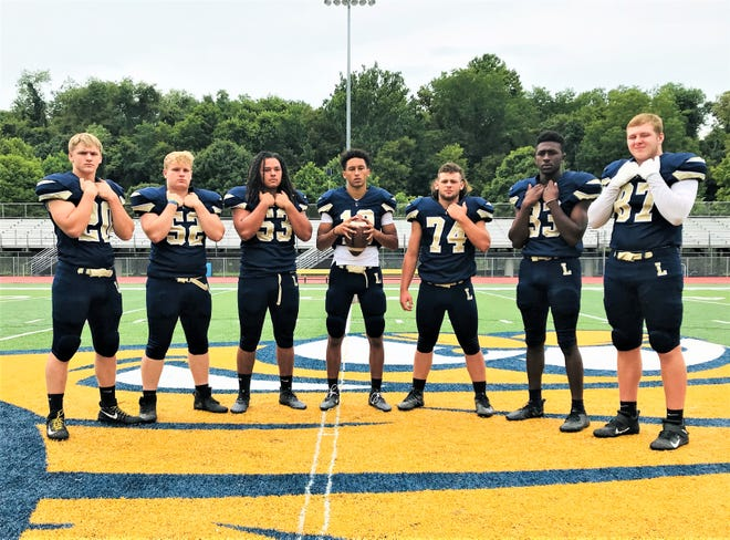 The Lancaster football team selected seven captains to lead them in 2020. They are, from left to right: Parker Hill, Tanner Taley, Zindale Graf, Titan Johnson, Ty Hedges, George Sherrick and Christian Riley. The Golden Gales open the season at New Albany on Aug. 28.