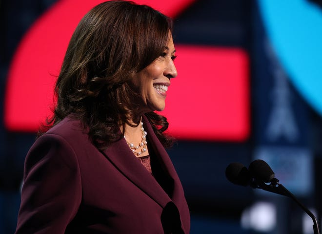 Sen. Kamala Harris of California speaks as she accepts the nomination for Vice President of the United States at the Democratic National Convention from the Chase Center in Wilmington, Delaware.