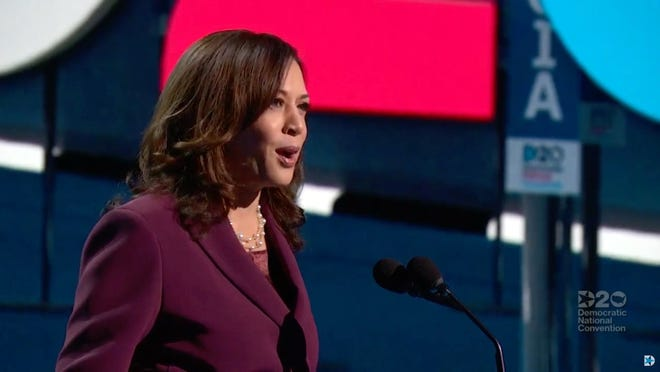 Sen. Kamala Harris of California speaks as she accepts the nomination for vice president from Wilmington, Del., during the Democratic National Convention at the Wisconsin Center.