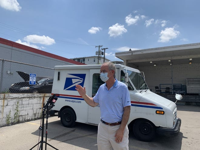 Rep. Jim Cooper spoke in favor of the United States Postal Service and met with postal workers in Nashville on Thursday, Aug. 20, 2020.