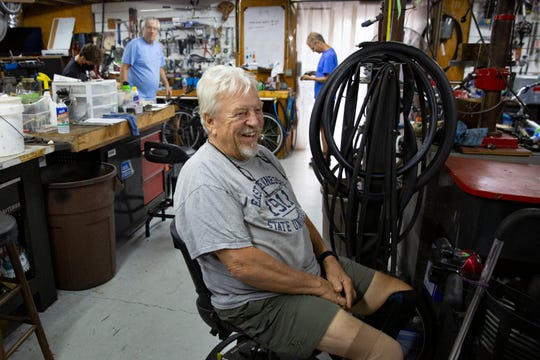 Bikes For Tykes founder and president Skip Riffle talks during an interview inside his workshop, Wednesday, Aug. 19, 2020, in North Naples.
