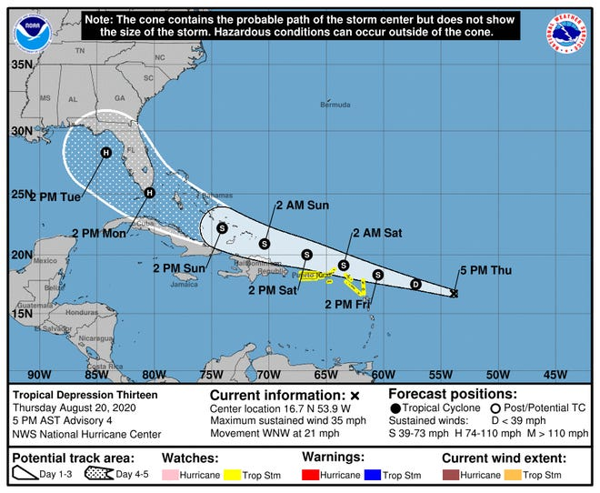 View Tropical Depression Thirteen as of 5 p.m. ET on Thursday, Aug. 20, 2020.