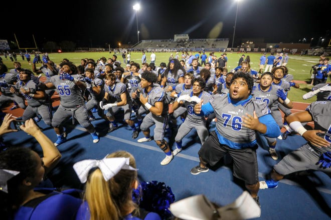The Chandler football team does the haka dance prior to their matchup with Desert Ridge on Sep. 27, 2019, in Chandler.