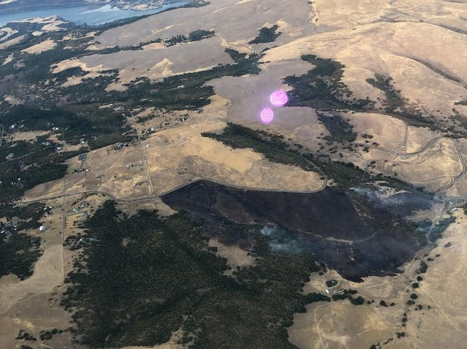 Aerial photo of the burned area near Rowena on the Sevenmile Fire taken Wednesday, August 19, 2020.
