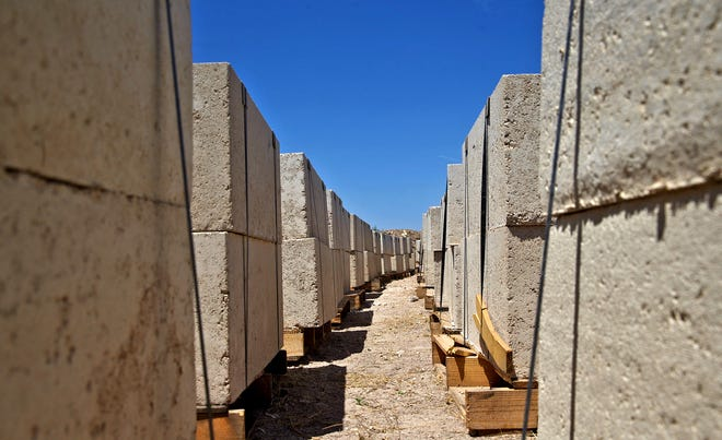Limestone blocks produced by the Texas-Australia Rock Company based in San Angelo sit on pallets Wednesday, Aug. 19, 2020.