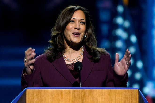 Democratic vice presidential candidate Kamala Harris speaks during the third day of the Democratic National Convention on Wednesday, Aug. 19, 2020, at the Chase Center in Wilmington.