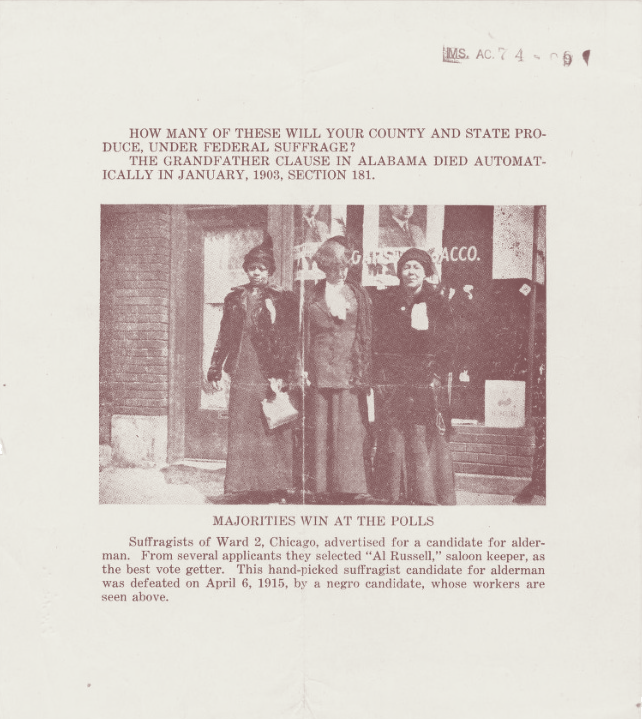An anti-suffrage poster suggested that women's suffrage would allow Black women to vote.